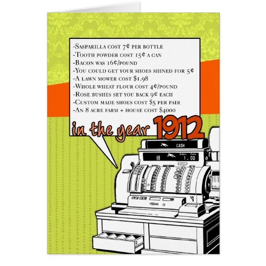 Fun Facts Birthday – Cost of Living in 1912 Card
