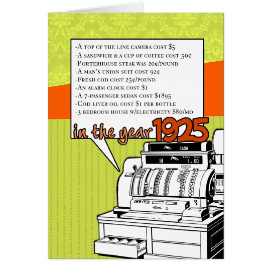 Fun Facts Birthday – Cost of Living in 1925 Card