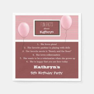 Fun Facts Birthday Girly Disposable Serviette