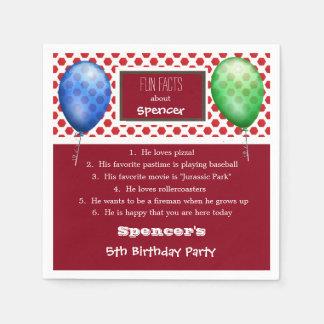 Fun Facts Birthday w/Fun Shapes Disposable Serviettes