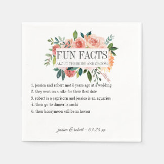 Fun Facts Blush Floral Personalized Disposable Napkin