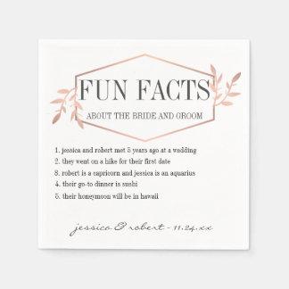 Fun Facts Elegant Rose Gold Personalized Disposable Serviette