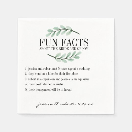 Fun Facts Eucalyptus Branches Personalised Disposable Napkins