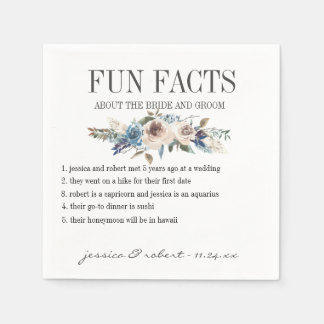 Fun Facts Floral Personalized Paper Napkins