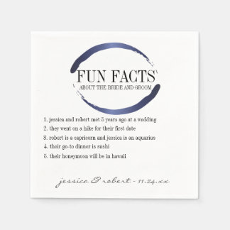 Fun Facts Modern Blue Brush Strokes Personalised Disposable Serviettes