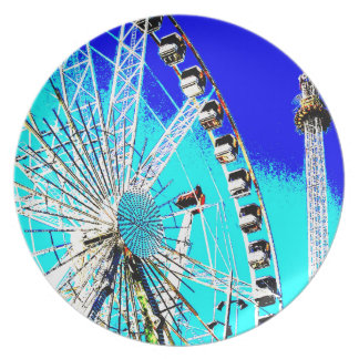 fun fair in amsterdam ferris wheel and high tower plate