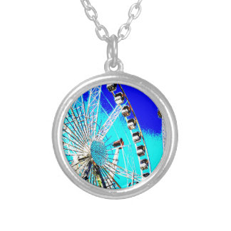 fun fair in amsterdam ferris wheel and high tower silver plated necklace