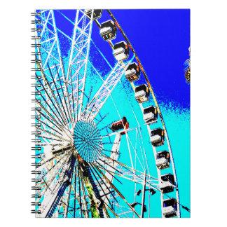 fun fair in amsterdam ferris wheel and high tower spiral notebook