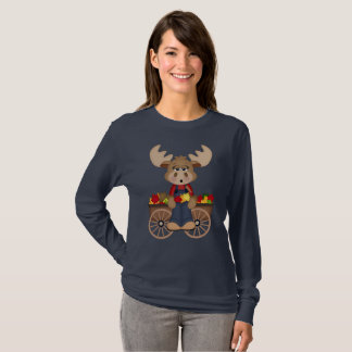 Fun Fall Seasonal Moose womens t-shirt