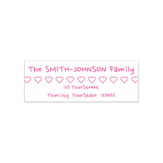 Fun Family Surname & Address Rubber Stamp
