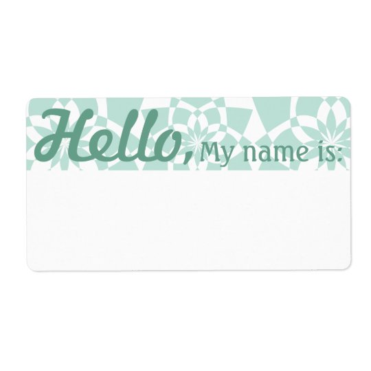 Fun Fancy Party Name Tags - Celadon GeoFlowers