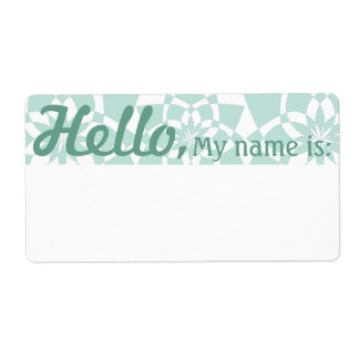 Fun Fancy Party Name Tags - Celadon GeoFlowers Shipping Label
