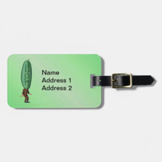Fun Fantasy Green Pickle Head Man in Suit Luggage Tag