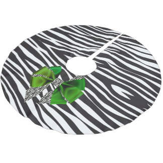 Fun Fantasy Zebra Print with Green Bow Brushed Polyester Tree Skirt