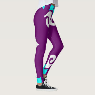 Fun Fashion Leggings-Purple/Aqua/White Leggings