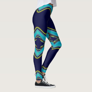 Fun Fashion Leggings-Women-Blue/Gold/Aqua Leggings