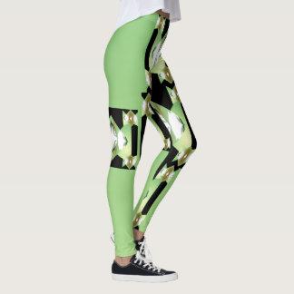 Fun Fashion Leggings-Women-Green/Black/White Leggings