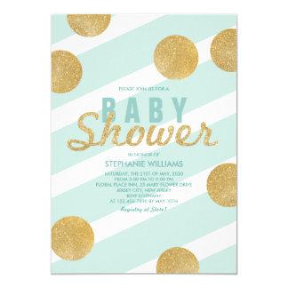 Fun Faux Gold Glitter Mint Baby Shower Invite