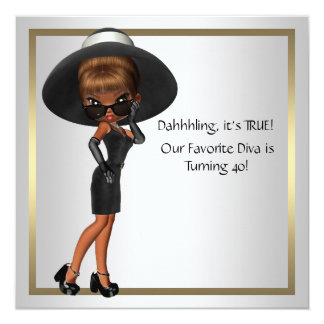 Fun Favorite Diva Womans Black 40th Birthday Party Card