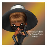 Fun Favorite Diva Womans Black 40th Birthday Party Personalized Announcement