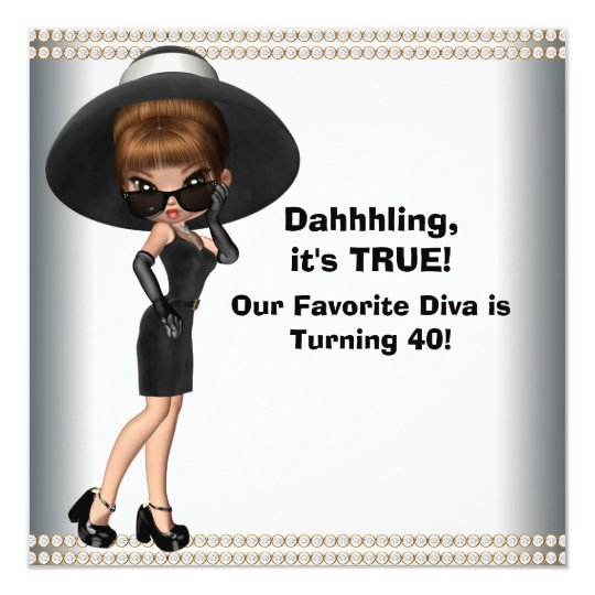 Fun Favourite Diva Womans Any Number Birthday 13 Cm X 13 Cm Square Invitation Card