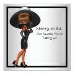Fun Favourite Diva Womans Black 40th Birthday Personalised Announcements