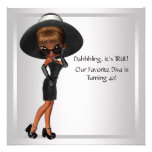 Fun Favourite Diva Womans Black 40th Birthday Part Personalized Announcement