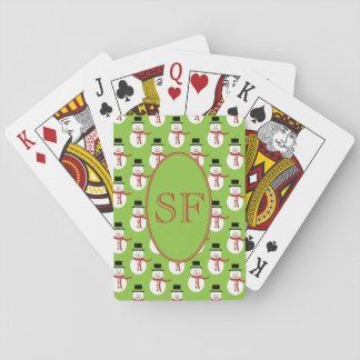 Fun Festive Cartoon Snowman Playing Cards