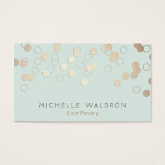 Fun Festive Gold Confetti Event Planner Light Blue Business Card