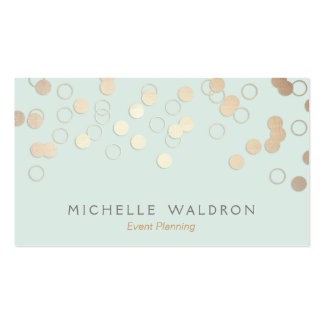 Fun Festive Gold Confetti Event Planner Light Blue Pack Of Standard Business Cards