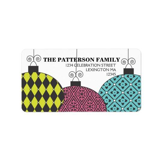 Fun Festive Modern Patterned Ornaments Address Label