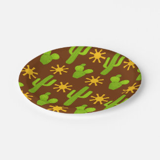 Fun Fiesta cactus pattern party paper plate