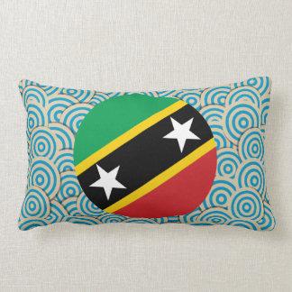 Fun Filled, Round flag of Saint Kitts and Nevis Lumbar Cushion