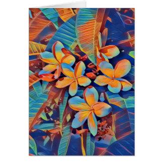 Fun-filled tropical frangipani card