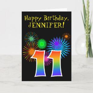 Fun Fireworks Rainbow Pattern 11 Birthday Card