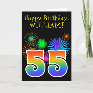 Fun Fireworks Rainbow Pattern 55 Birthday Card
