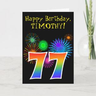 Fun Fireworks Rainbow Pattern 77 Birthday Card