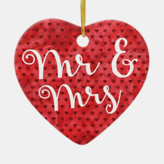 Fun First Married Christmas Mr and Mrs Gift Heart Ceramic Ornament