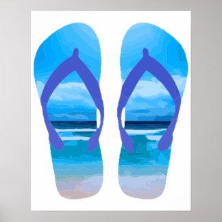 Fun Flip Flops Summer Beach Art for Vacation Poster