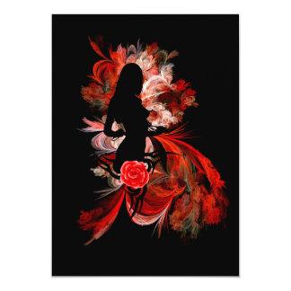 Fun flirty adult romantic woman on red 13 cm x 18 cm invitation card