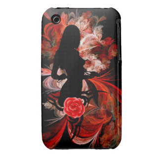 Fun flirty adult romantic woman on red Case-Mate iPhone 3 case