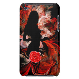 Fun flirty adult romantic woman on red iPod Case-Mate case