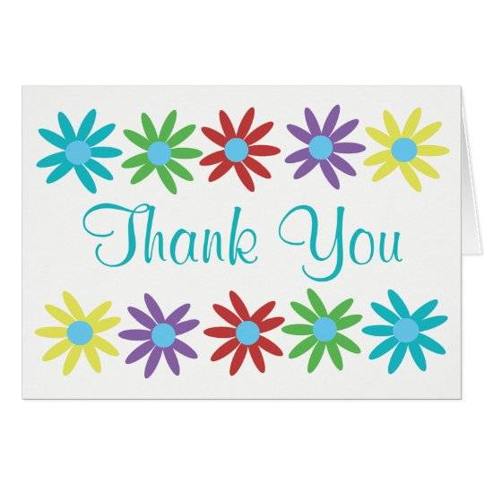 Fun Floral Thank You Blank Note Card