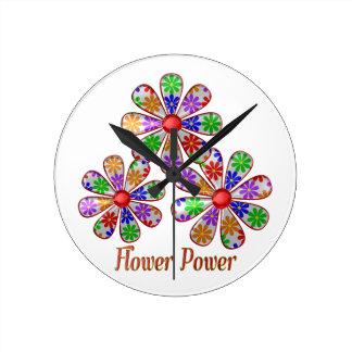 Fun Flower Power Round Clock