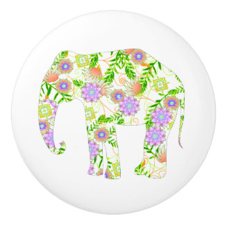 Fun Flowered Elephant Ceramic Knob