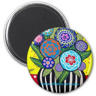 Fun Folk Art Flower Magnet