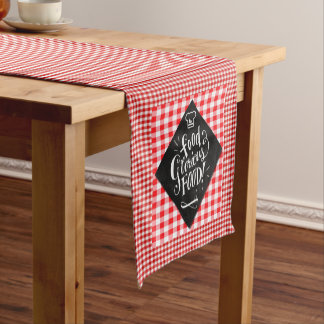 Fun Food Themed Table Setting in Red Checks Short Table Runner