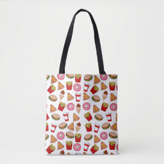 Fun foodie pattern tote bag