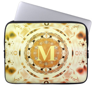 Fun Fractal Art Monogram Laptop Sleeve