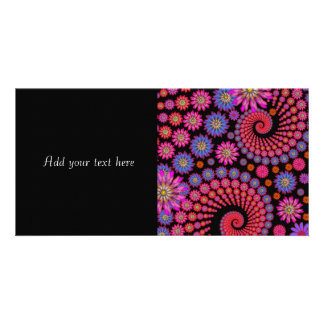 Fun Fractal Flowers Colorful Art Customized Photo Card